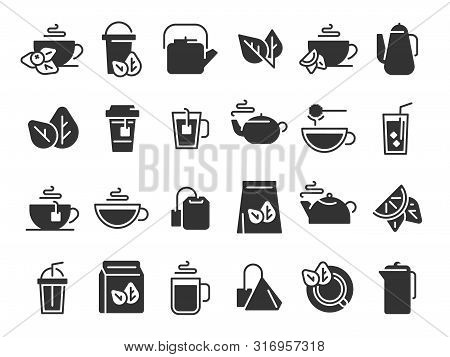 Black Tea Leaves Icons. Hot Drink Cup, Cold Iced Tea And Teapot With Steam Pictogram. Organic Herbal