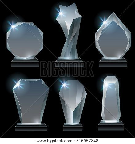 Transparent Trophy Awards. Glass Award On Stand, Acrylic Awards Trophies And Clear Winner Crystal Re