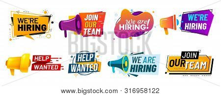 Join Our Team Banners. We Are Hiring Communication Poster, Help Wanted Advertising Banner With Speak