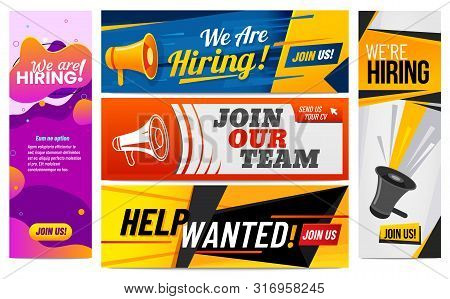 We Are Hiring Banners. Join Our Team, Vacancy Promotional Banner And Hirings Creative Template. Work