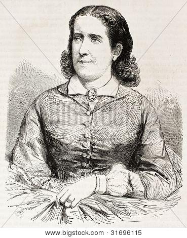 Madeleine Graever oude gegraveerd portret (Nederlandse pianist). Gemaakt door Janet-Lange, gepubliceerd op L'Illu