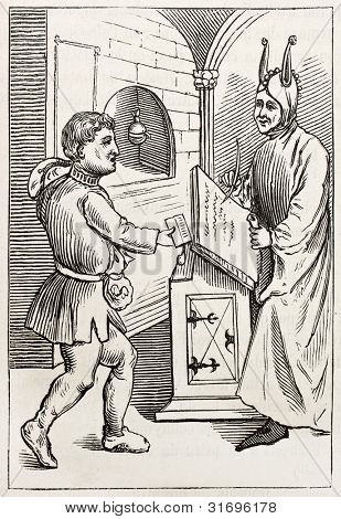Scribe and peasant old illustration. By unidentified author, published on Magasin Pittoresque, Paris, 1882