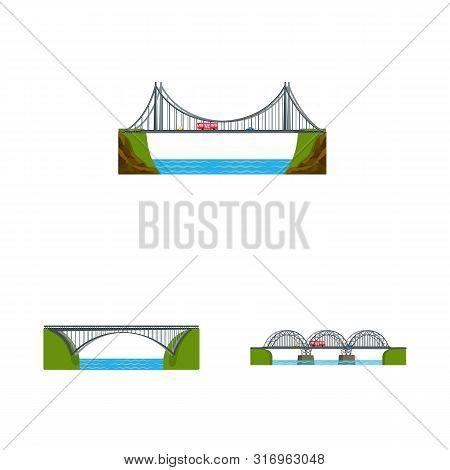 Isolated Object Of Bridgework And Bridge Logo. Set Of Bridgework And Landmark Vector Icon For Stock.
