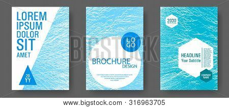 Flyer Poster Vector Graphic Design Set. Blue Sea Water Waves Texture Backdrops. Modern Poster, Cover
