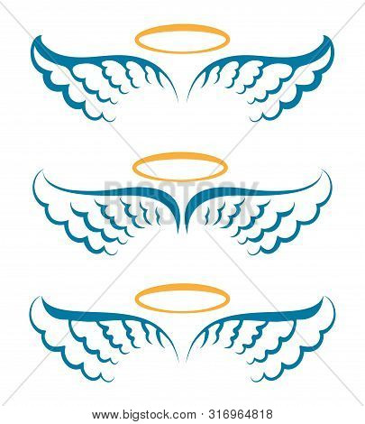 Heaven Angeles Wings. Holy Angel Wings With Saint Halo Hand Drawn Symbols Isolated Vector, Simple He