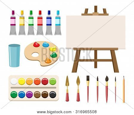 Painting Art Tools. Cartoon Paint Arts Vector Artistic Elements, Brush Or Paintbrush, Palette And Wa