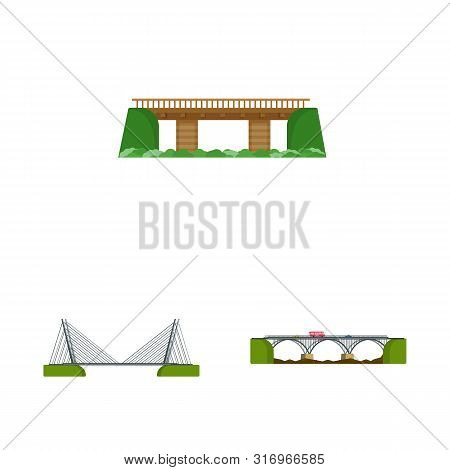 Vector Design Of Bridgework And Bridge Sign. Set Of Bridgework And Landmark Stock Vector Illustratio