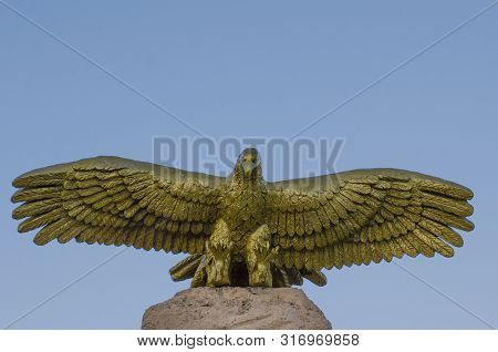 Anapa, Russia - May 10, 2019: Close-up Of Stella Monument Soaring Eagle With The Word Beginning Of T