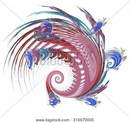 An Abstract Computer Generated Modern Fractal Design. Abstract Fractal Color Texture. Digital Art. A