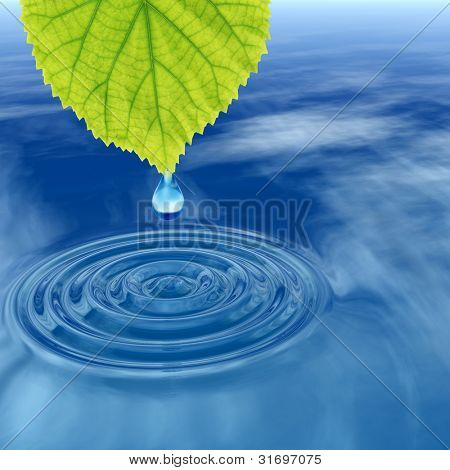 High resolution conceptual water or dew drop falling from a green fresh leaf on a blue clear water making waves. It si a concept ideal for summer,spring, nature or natural designs and also for ecology