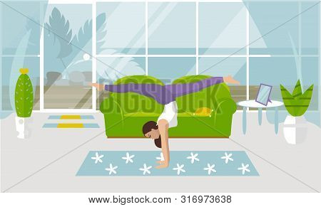 Vector Illustration On White Background. Handstand Asanas With Twine In Yoga. Beautiful Young Woman