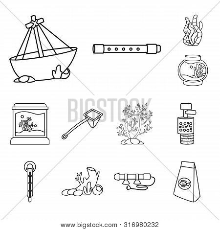 Vector Illustration Of Fishbowl And Accessory Sign. Set Of Fishbowl And Care Stock Symbol For Web.