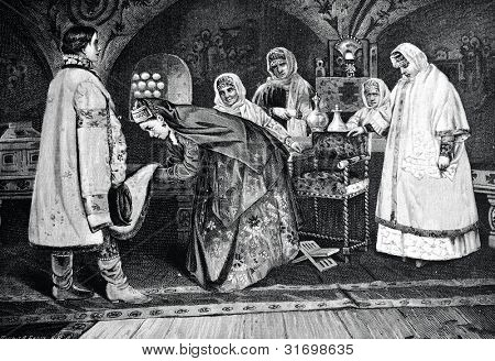 Appointment of Tsar Aleksei Mikhailovich and Maria Miloslavskaya. Engraving by Berg from picture by Nesterov. Published in magazine