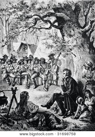 Composer Franz Schubert writes the melodies of the Hungarian Gypsies. Engraving by Bong  from picture by Mert. Published in magazine