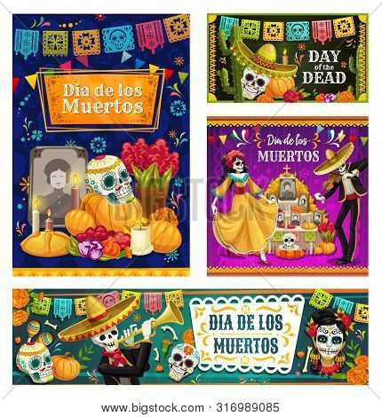 Dia De Los Muertos Sugar Skulls On Altar And Dancing Skeletons Vector Banners. Mexican Day Of The De