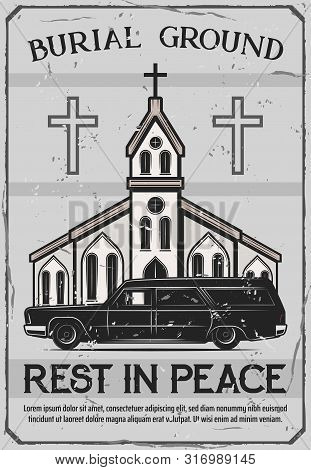 Funeral Service, Burial Ceremony Organization Agency Or Company Vintage Poster. Vector Funeral Cataf