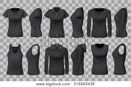 Women Clothes Apparel Black Templates And 3d Realistic Sportswear Mockup Models. Vector Front And Si