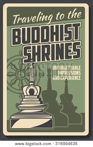 Buddhism And Dharma Enlightenment, Religious Buddhist Shrines Pilgrimage Travel Tours. Vector Vintag