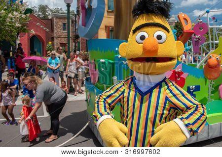 Orlando, Florida. August 07, 2019. Funny Bert In Sesame Street At Seaworld 3