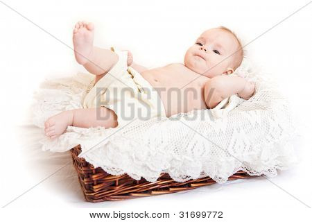 Portrait of cute little girl in the basket
