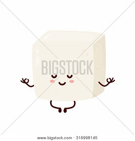 Cute Smiling Happy Strong Tofu Meditate In Yoga Pose.vector Flat Cartoon Character Illustration Icon