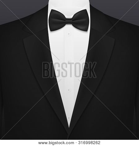 Men Black Smoking Suit With Necktie Blank Background Template. Vector Vip Party, Wedding Or Fashion