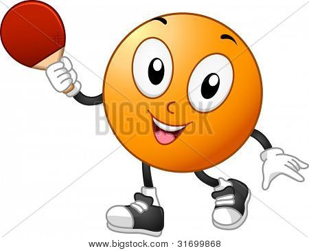 Illustration of a Table Tennis Mascot Holding a Racket
