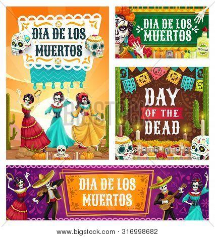Dancing Skeletons Of Dia De Los Muertos Mexican Holiday Vector Design. Day Of Dead Altar With Sugar