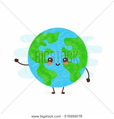 Cute Happy Smiling Kawaii Earth Planet. Happy Earth Day Card.vector Hand Drawing Style Illustration