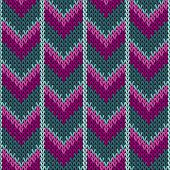 Cool chevron knitted seamless pattern vector design. Purple teal winter jumper knitwear fabric print. Norwegian knitted seamless sweater pattern in traditional christmas style. poster