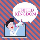 Handwriting text writing United Kingdom. Concept meaning Island country located off the northwestern coast of Europe Man Speaking Through Laptop into Loudhailer Blank Speech Bubble Announce. poster