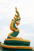 Thai dragon or king of Naga statue poster