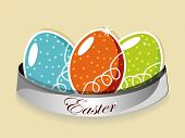Vector illustration  of a tag having three decorated eggs in sky blue, orange and  green color. Use as label, and sticker. EPS 10. poster