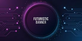 Futuristic Banner With Computer Circuit. Modern Tech Design. Blue And Purple Glowing Neon Honeycombs