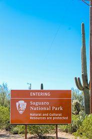 Entering Saguaro National Park Sign - Tucson Arizona - Nov 1 2018