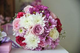 Wedding Decor Flowers Bride. Wedding Concept. Wedding Bouquet, Bouqet Of Flowers On Wedding Day