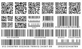 Barcodes. Scan Bar Label, Qr Code And Industrial Barcode. Product Inventory Badge, Codes Stripe Stic