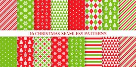 Christmas Seamless Pattern. Xmas, New Year Background. Vector. Endless Texture With Polka Dot, Candy