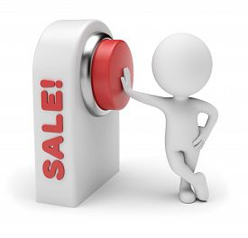 3d Small People - Starting Sale. Pushing Red Button On Control Board Having Word Sale. 3d Rendering.
