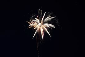 Fireworks With A Dark Black Background, Bright Beautiful Colorful Firework. Colored Firework Lights