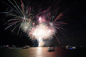 Fireworks On A Lake Water, Amazing Fireworks, Fireworks 2019, Fireworks Background, Fireworks Event,