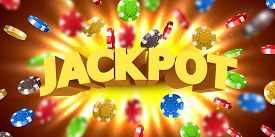 Jackpot Sign With With Flying Casino Chips Wins The Jackpot. Big Win Concept.