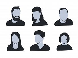 Vector Avatar, Profile Icon, Head Silhouette. Group Of Working People Diversity, Diverse Business Me