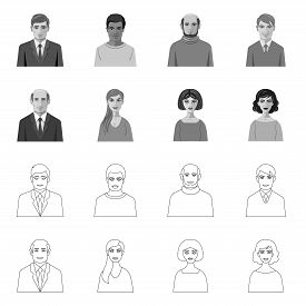 Vector Illustration Of Hairstyle And Profession Icon. Collection Of Hairstyle And Character Vector I
