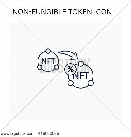 Ntf Resale Line Icon. Subsequent Percentage. Secondary Sale.agreement. Digitalization Concept. Isola
