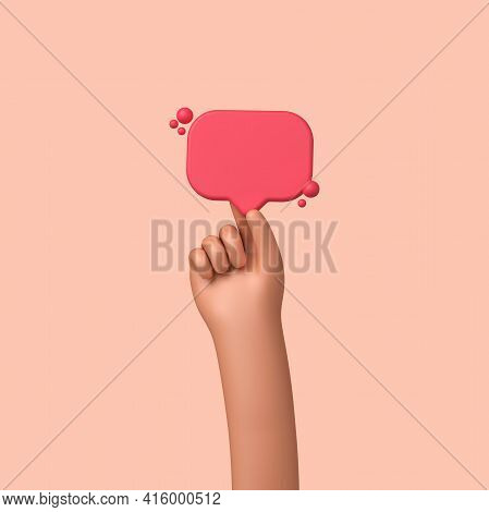 Hand Holding A Blank Social Media Followers Banner Label. 3d Rendering