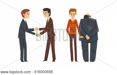 Businessman Giving Money Banknotes And Offering Bribes Set, Prevention Of Corruption Concept Cartoon