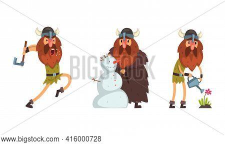 Viking Character Set, Medieval Warrior Cartoon Character Fighting, Making Snowman And Watering Flowe