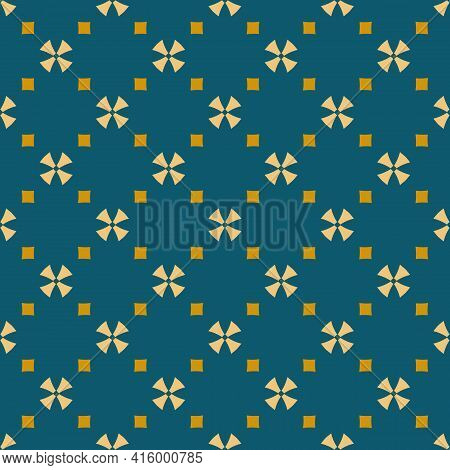 Simple Geometric Floral Seamless Pattern. Abstract Vector Ornament With Flower Silhouettes, Crosses,