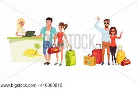 Happy Couples Going On Summer Vacation Set, Young Man And Woman With Travel Bags, Tourist Couple At